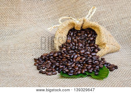 coffee bean in sack bag on burlap background