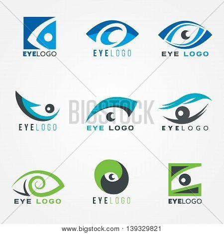 Eye logo sign vector set graphic design