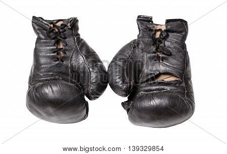 old boxing gloves on a white background isolated