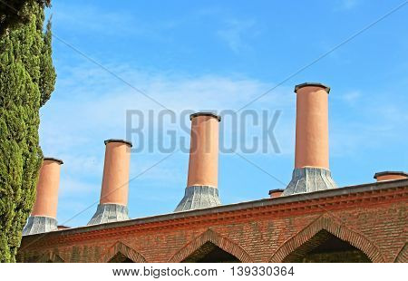 Chimneys on Sultan's kitchen at Topkapi palace in Istanbul, Turkey