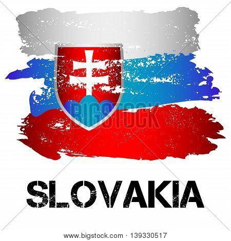 Flag of Slovakia from brush strokes in grunge style isolated on white background. Country in Eastern Europe. Vector illustration