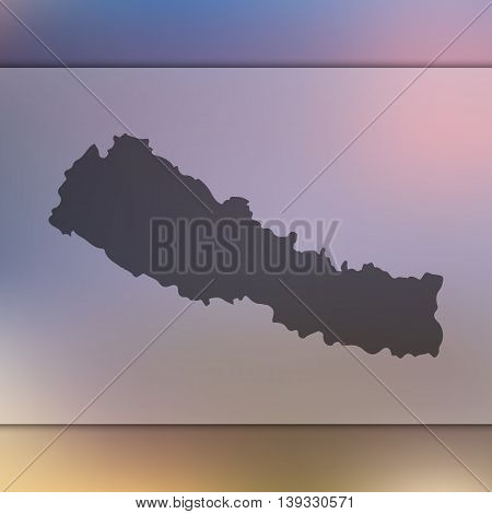 Nepal map on blurred background. Blurred background with silhouette of Nepal. Nepal. Nepal map.