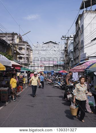 HADYAI SONKHLATHAILAND-JULY 20 : Street of Kimyong street market is very popular in southern of Thailand where Thai and Malaysian tourist always visit in Hadyai on July 20 2016 in SonkhlaThailand