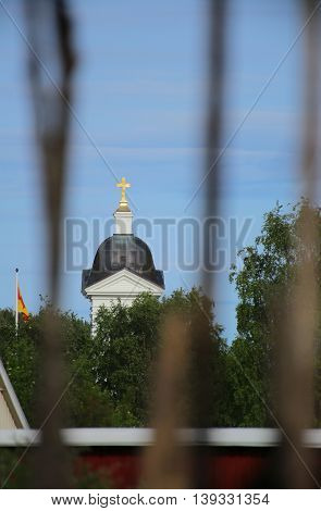 Church With Defocused Foreground In Naesaaker In Sweden