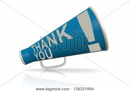 Blue Megaphone With Thank You Word