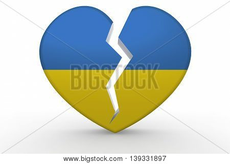Broken White Heart Shape With Ukraine Flag