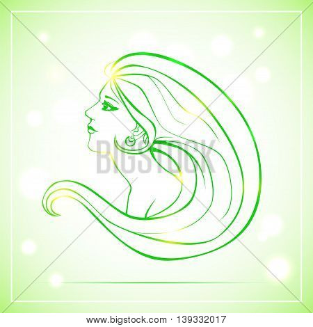 Vector illustration of woman bust in side view and with long hair. Green lineart on light background with bokeh.