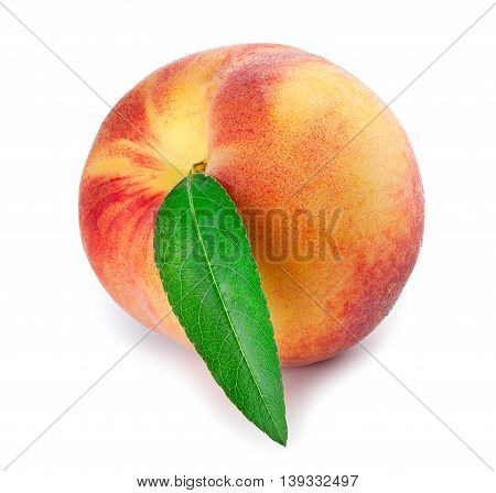 Peach whole fruit with leaf isolated on white background. Isolated peach. Fruit isolated on white background