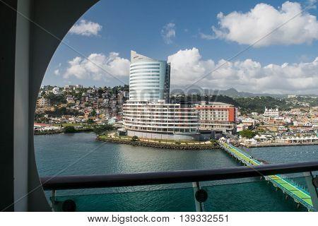 FORT DE FRANCE, MARTINIQUE -NOVEMBER 25, 2015 : Landscape of Fort-de-France Martinique harbor, piers, city and mountains.