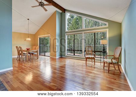 Empty Room With Dining Area With Hardwood Floor