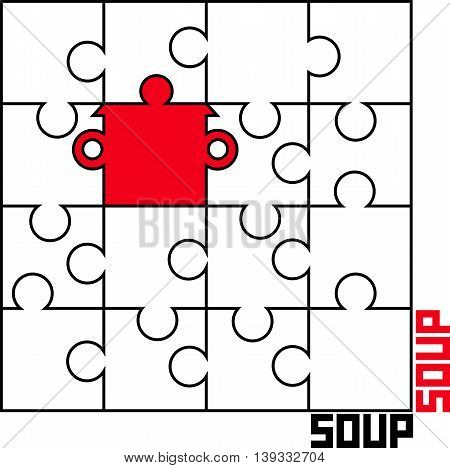 stylized vector image of puzzle with a saucepan