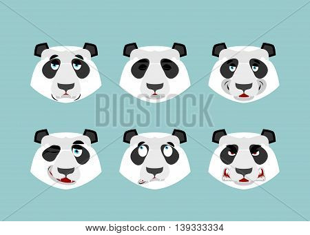 Panda Emotion. Set Expressions Avatar Chinese Bear. Animal Good And Evil. Beast Discouraged And Chee