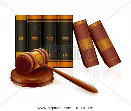 Gavel and books, mesh
