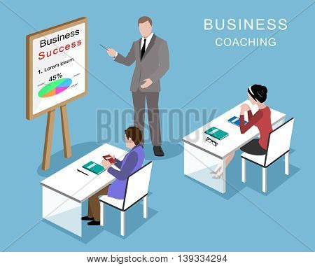 People in the office. Coaching process. 3d isometric graphic businessmen and businesswoman in the room.