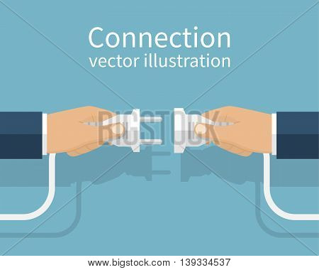 Business connection concept. Partnership. Vector illustration flat design. Businessmen connecting hold plug and outlet in hand isolated on background. Cooperation interaction.