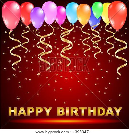 Happy birthday text with colorful balloons golden ribbons and star confetti isolated on red background Vector illustration design with copy space