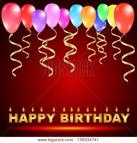 Happy birthday candles with colorful balloons and golden ribbons isolated on red background Vector illustration design with copy space