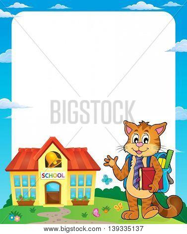 School cat theme frame 1 - eps10 vector illustration.