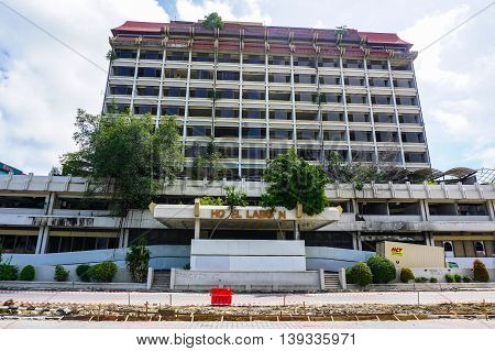 Labuan, Malaysia-July 21,2016: View of abandoned hotel Labuan on 21st July 2016 at Labuan island.Hotel Labuan was the top hotel in Labuan 20 years ago.Due to some reasons Hotel Labuan was closed in 1998.