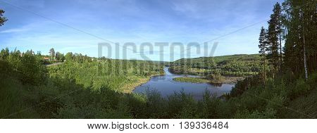 Panoramic Outlook On The River Naemforsen In Naesaaker In Sweden