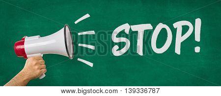 A Man Holding A Megaphone - Stop