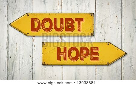 Direction Signs On A Wooden Wall - Doubt Or Hope