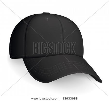 Black baseball cap, vector