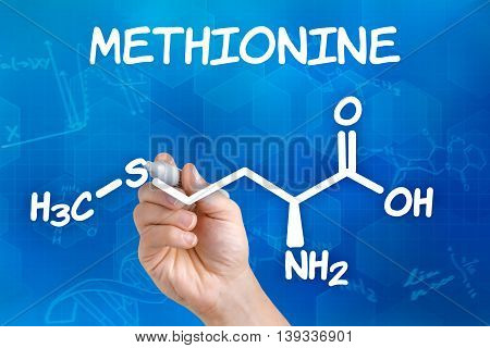 Hand With Pen Drawing The Chemical Formula Of Methionine