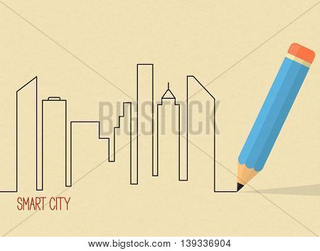 City skyscrapers skyline drawn with pencil over brown rough paper texture. Architectural design smart city project concept