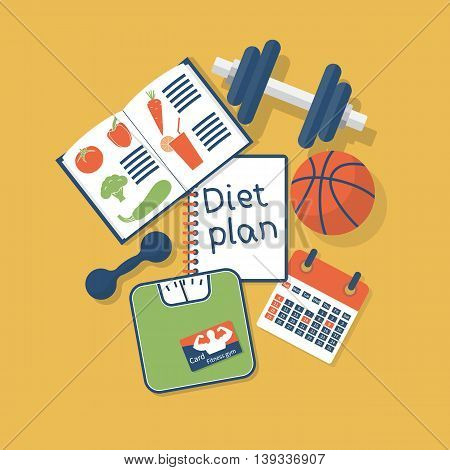 Diet plan concept . Planning diet and healthy lifestyle. Vector illustration flat design. Sports equipment studying healthy foods.