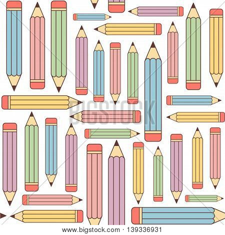 Seamless pattern background with multicolored graphite pencils