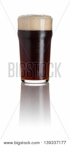 Stout In A Pint Glass On A White Background