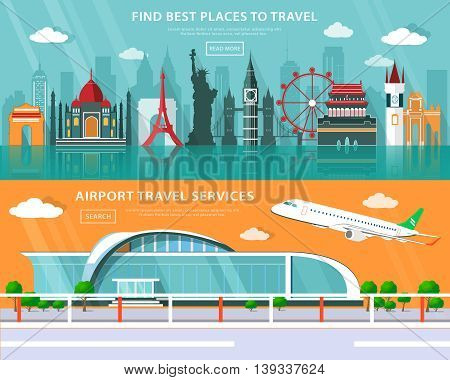World landmarks, places to travel and airport service set with flat elements. Colorful graphic vector illustration.