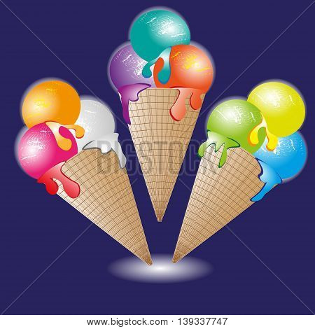 Ice cream cone vector illustration Cone ice cream set of three cold delicious dessert image on a blue background
