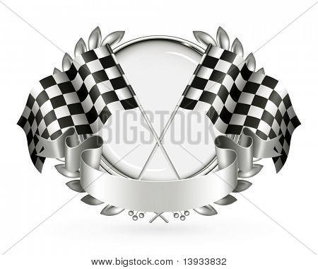 Zilveren embleem Racing, vector