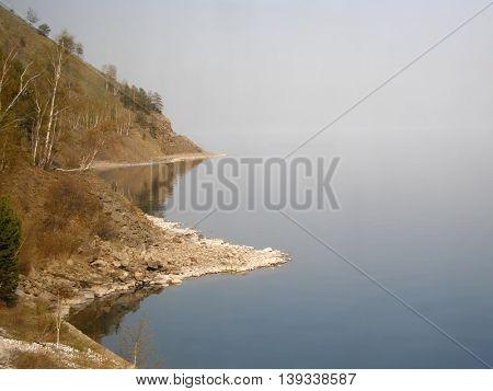Spring shore of Lake Baikal. Irkutsk region. Siberia. Russia.
