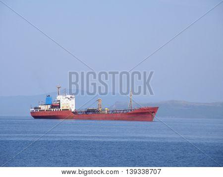 A ship at sea. Near the city of Vladivostok. Ussuri Bay.