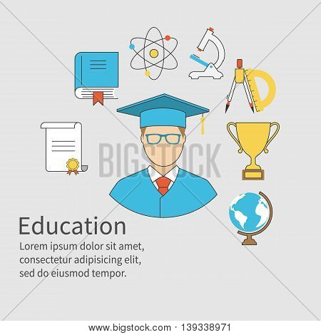 Graduate concept. Student graduate with icons of education and knowledge. Diploma cup science academic cap. Space for text template. Vector illustration flat design style. School university.