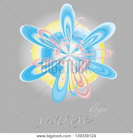 Illustration vector  watercolor sunrise logo Drawing on a black background abstract logo of dawn a ray of light in the form of petals