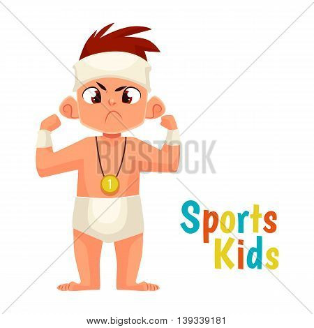 baby diapers winner cartoon comic illustration isolated on white background baby in diapers won and won first place, mans strength and courage, strong face the winner