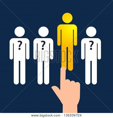 Vector stock of hand choosing the best people from the line