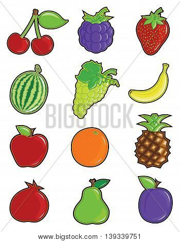 Shiny Multi Colored Fruit Vector Icon Set