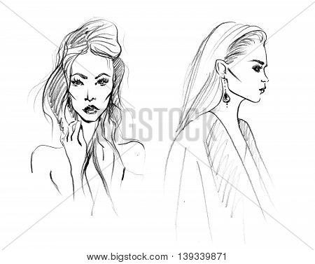 Black and White Sketch of Two Fashion Woman. Hand Drawn Modern Beauty Concept. Minimalism Art and Design. Monochrome Illustration.