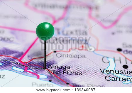 Arriaga Villa Flores pinned on a map of Mexico