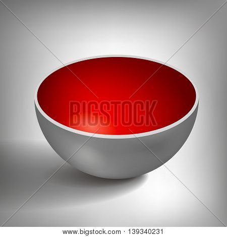 Vector volume half of a hollow sphere, open ball, inside a red coated, abstract object for you project design