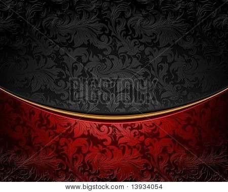 Vintage ornament red and black, vector