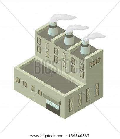 Isometric factory building vector icon. Industrial building