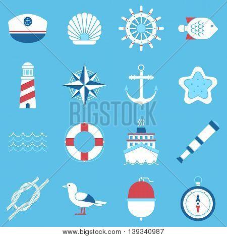 Set of marine sea icons and nautical decorations isolated.