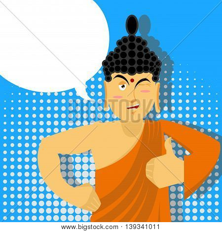 Buddha Thumbs Up In Pop Art Style. Indian God. Sign All Right. Hand Showing Ok. Gesture Of Hand.  Su