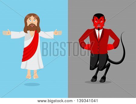 Jesus And Devil. Christ And Satan. Son Of God And Demon Lucifer. Holy Man And Prince Of  Underworld.